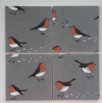 4 Ceramic Coasters in Sophie Allport Robin and Mistletoe